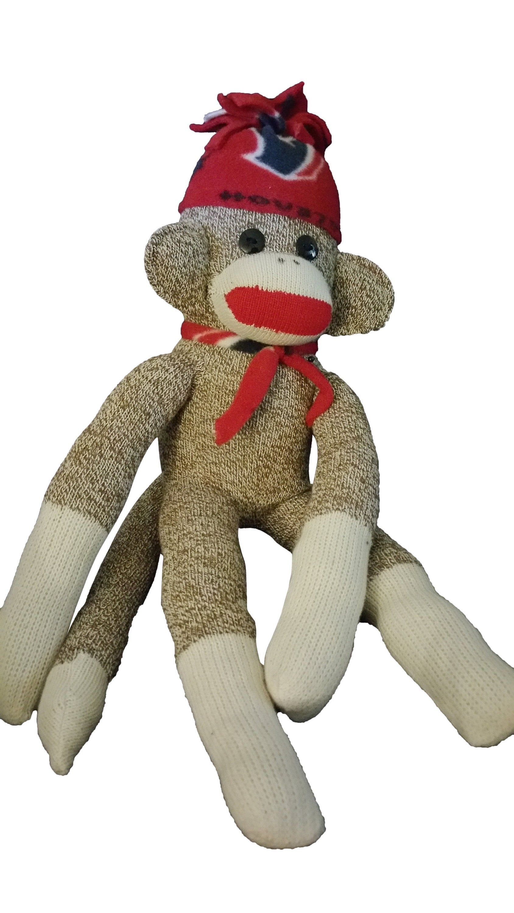 Houston Texan Stuff Sock Monkey, Houston Texan Redford Red Monkey Socks, Houston Texan Sock Monkey Gift w/ Hat & Tie #sockmoneky