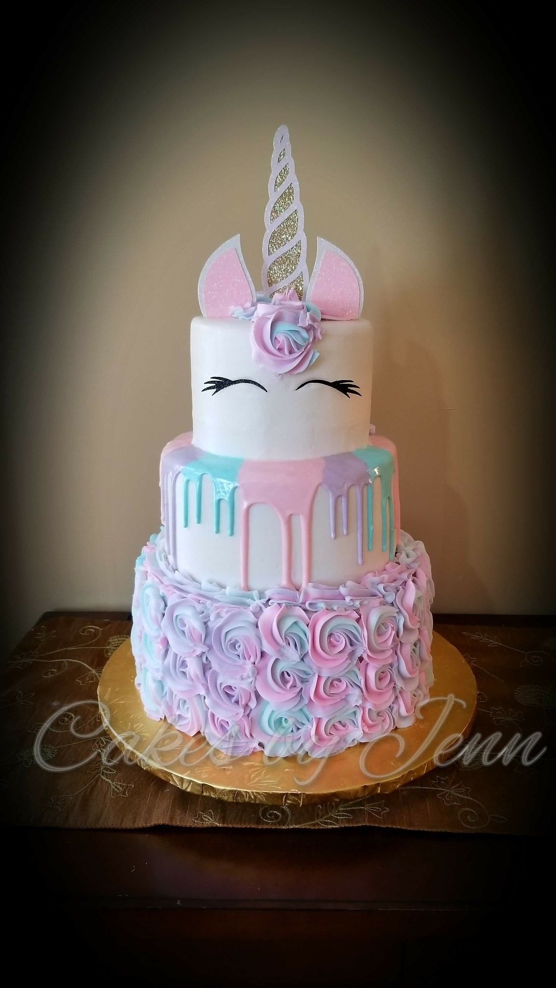 Pastel Unicorn Drip And Rosette Birthday Cake