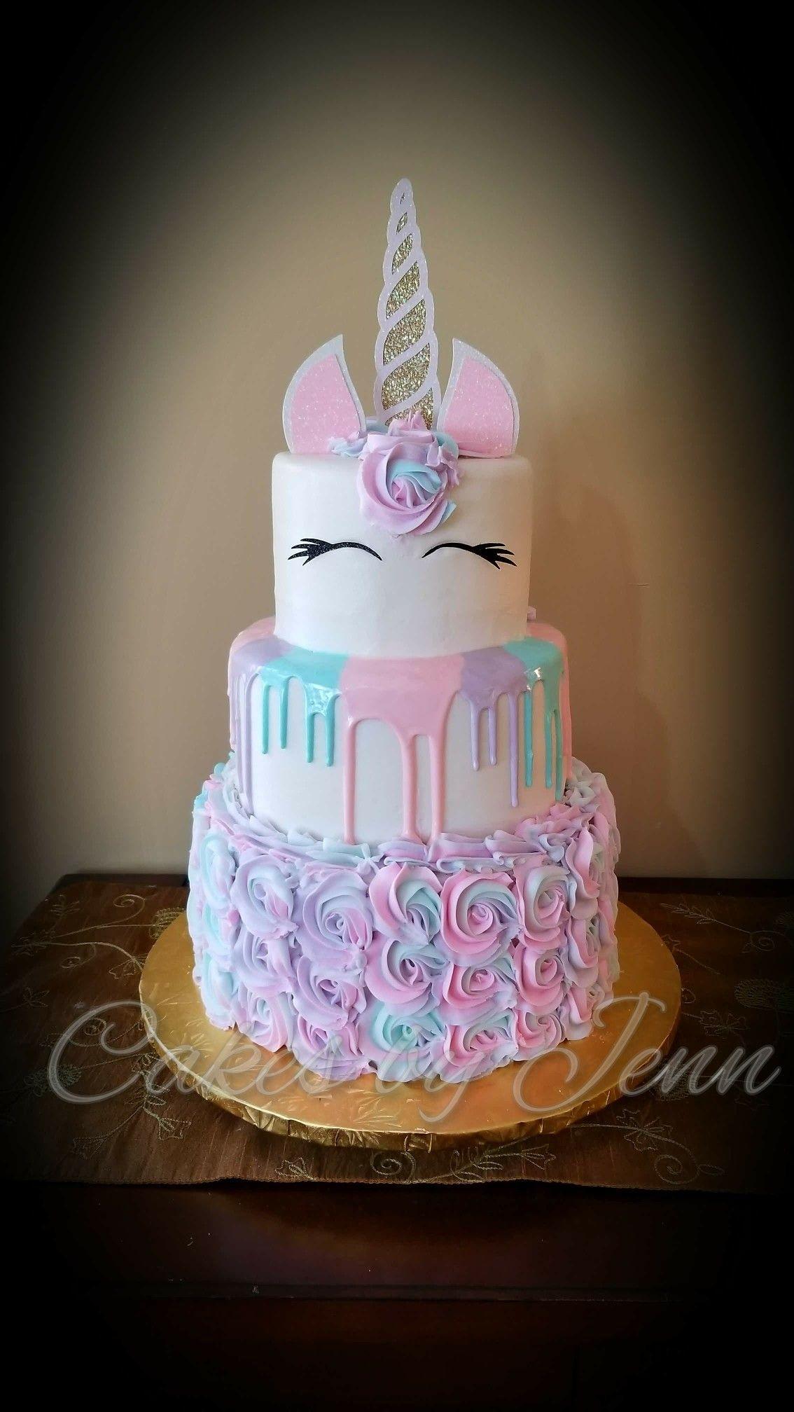 Pastel Unicorn Drip And Rosette Birthday Cake