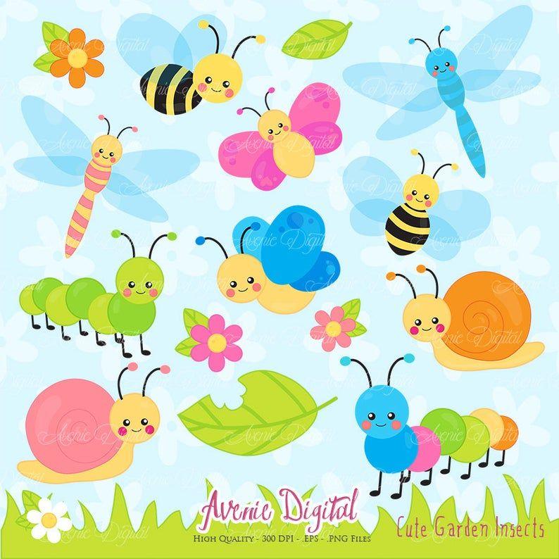 Cute Garden Bugs Clipart Scrapbook Printable Insect Clip Art Etsy In 2021 Clip Art Spring Clipart Garden Bugs