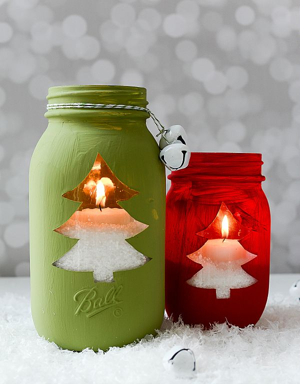 Christmas Tree Mason Jar Votive - Mason Jar Crafts
