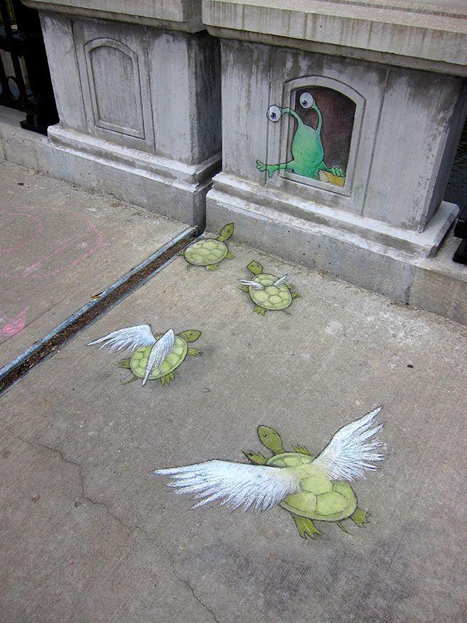 The Amazing Sluggo! #streetart #pavementart #sidewalkart http://coolsandfools.com/sluggo-on-the-street-1/