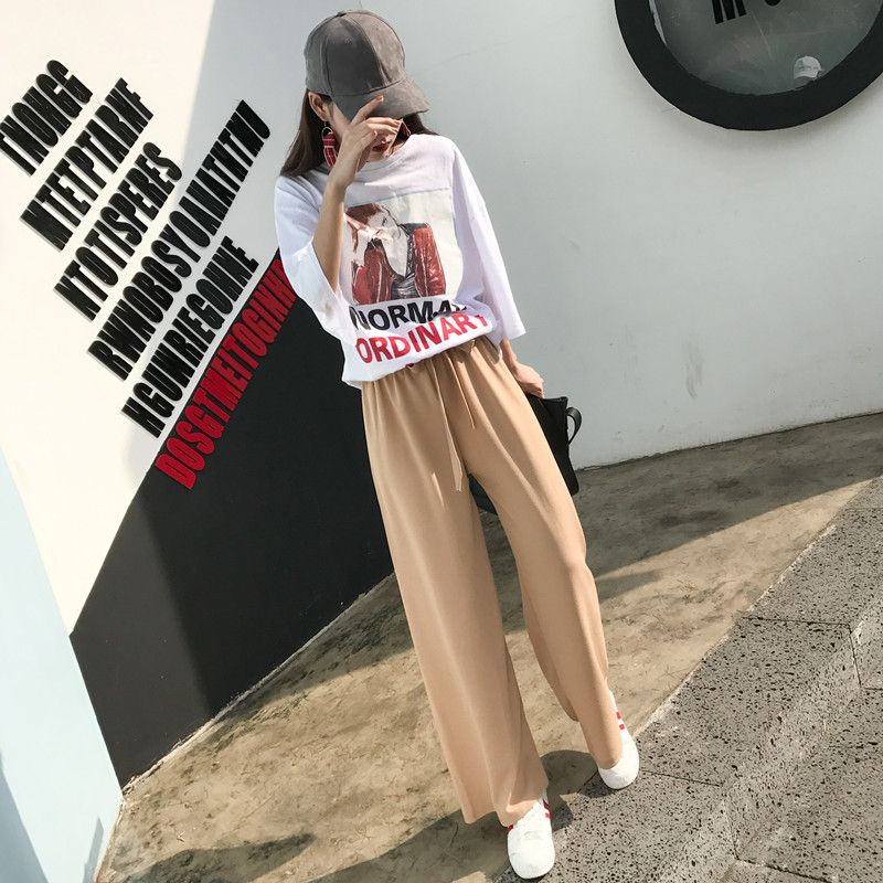 1cee5e92eb0 Wide Leg Pants Ulzzang Women Trousers Loose Elegant Soft Sashes High Waist  Womens Solid Summer Breathable