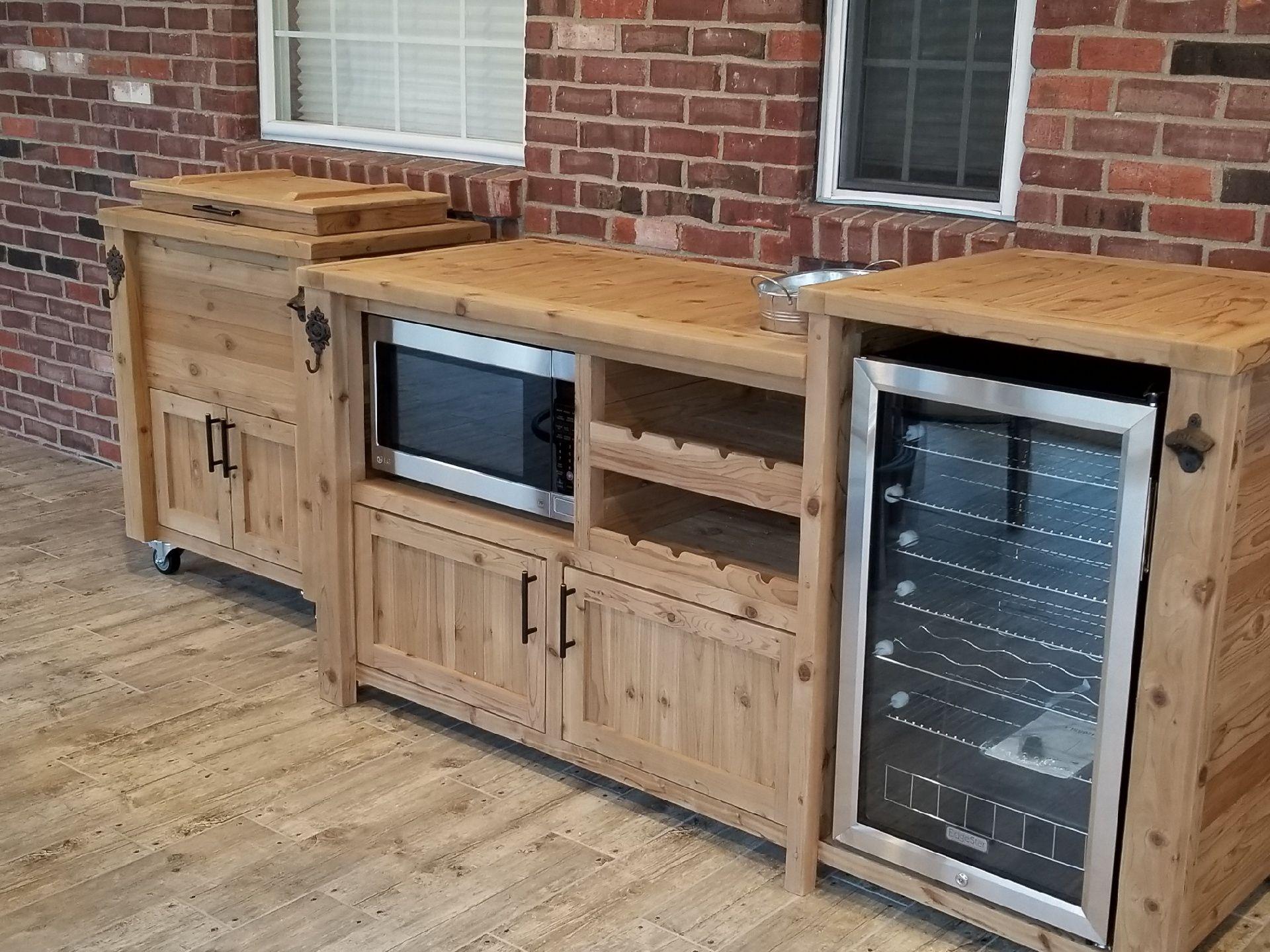 Outdoor Beverage Bar Mini Fridge Microwave Wine Rack And More Outdoor Patio Bar Outdoor Mini Fridge Patio Bar