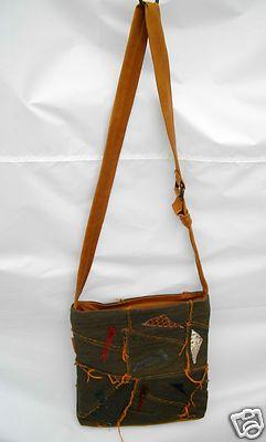 baGamunda Handbag Denim and Leather Crossbody Bag Pocketbook made in Italy