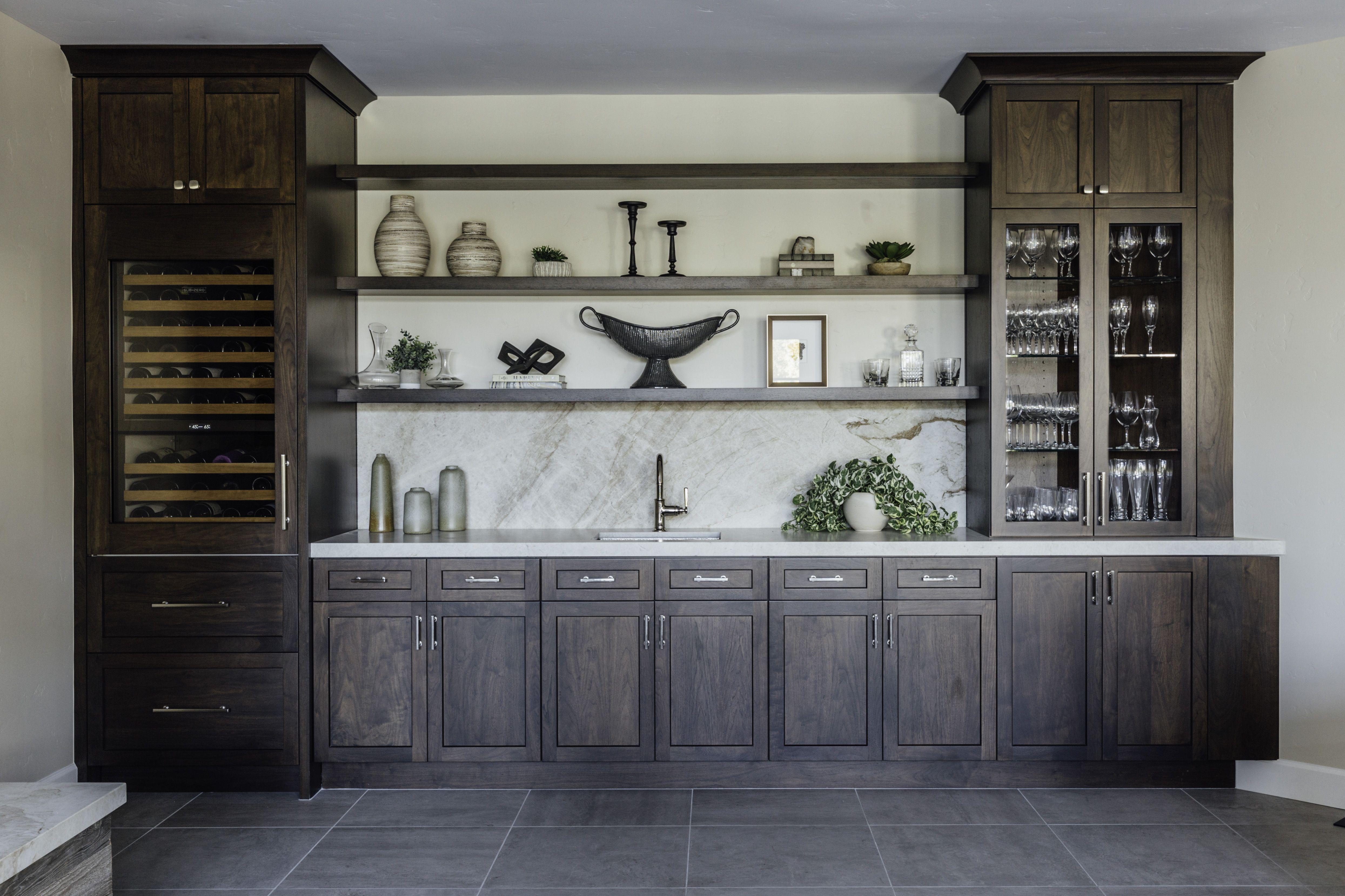 Builtin wet bar with wine fridge dining room bar home