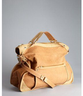 9261e80bd64 Celine tan leather and suede large convertible top handle bag on shopstyle .com