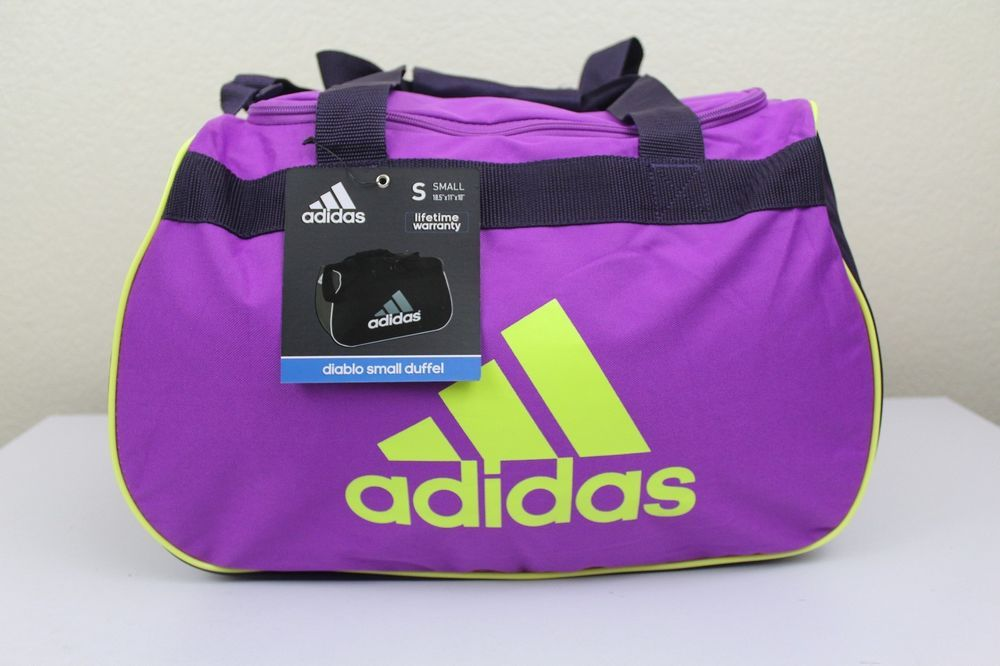 f312e3c7d5f adidas diablo small duffel sport gym bag purple yellow 18.5