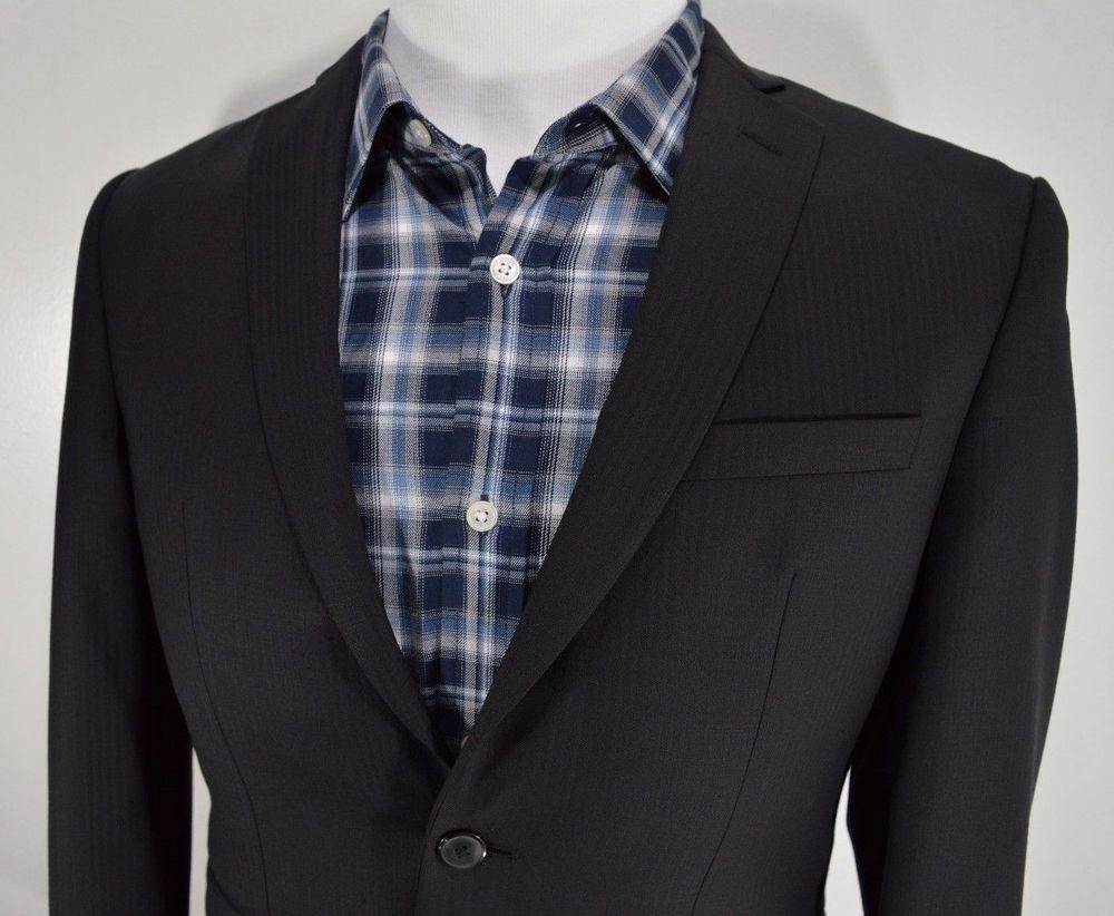 BAR III EXTRA SLIM mens black wool sport coat blazer jacket 38S 38 ...