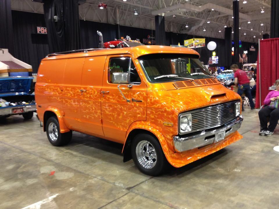 Orange Flame Van Custom Vans Cool Vans Vintage Vans