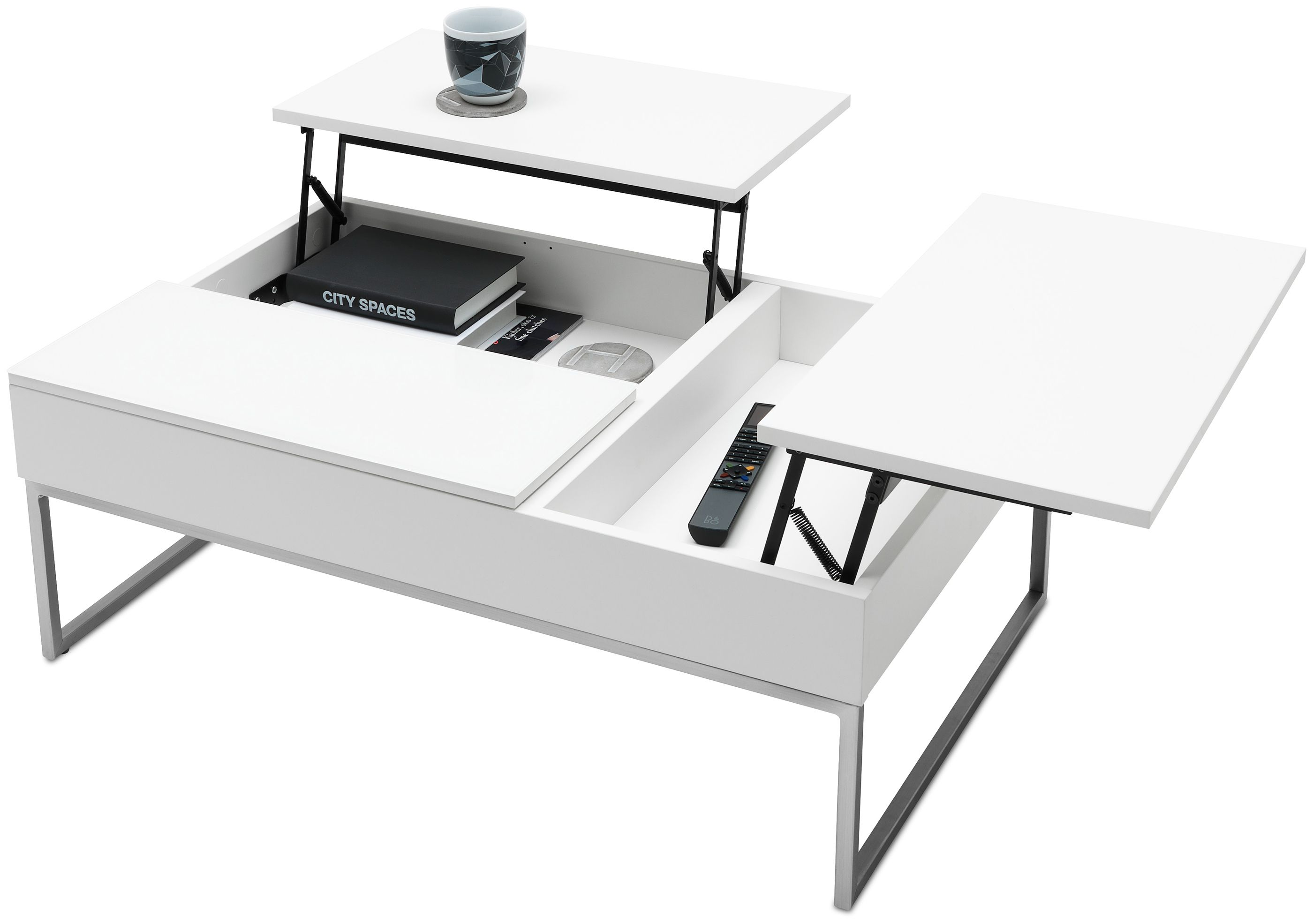 Chiva Functional Coffee Table With Storage Available In Diffe Colors As Shown Matte White Lacquered Gl Brushed Steel