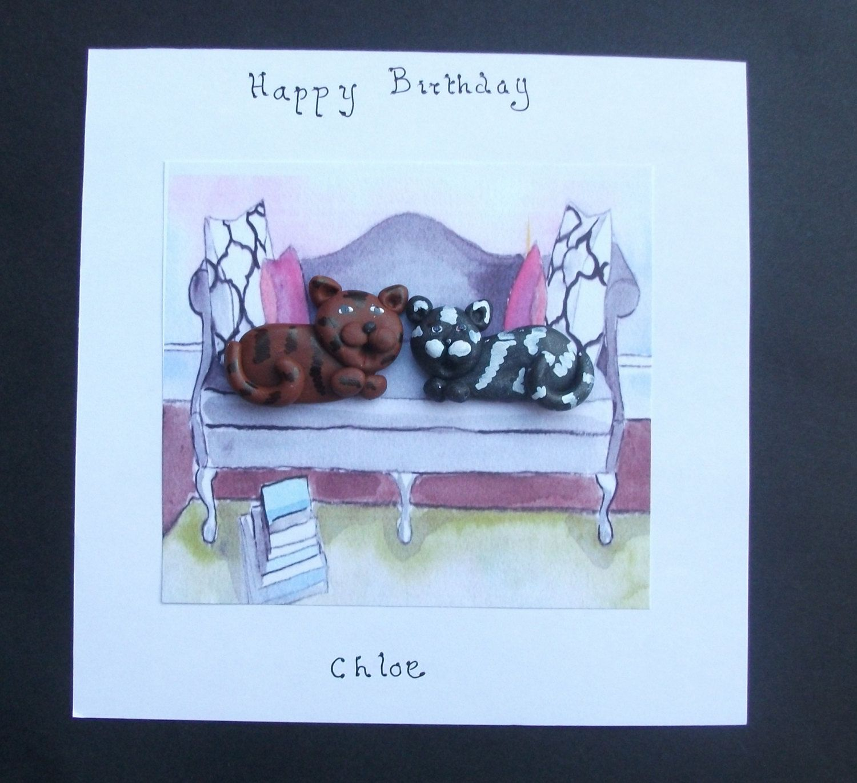 Cat lover birthday personalised cat birthday card bespoke – Bespoke Birthday Cards