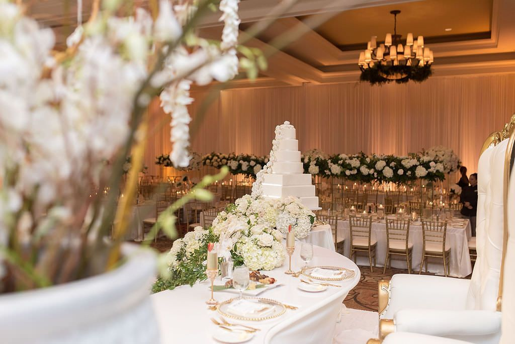 Luxurious Green And White Floral Filled Clearwater Beach Wedding