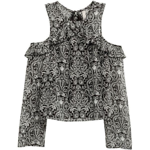 c34c1021 H&M Cold-Shoulder-Shirt 14,99 ❤ liked on Polyvore featuring tops, chiffon  shirt, paisley print shirt, shoulder cut out shirt, shirt top and cold  shoulder ...