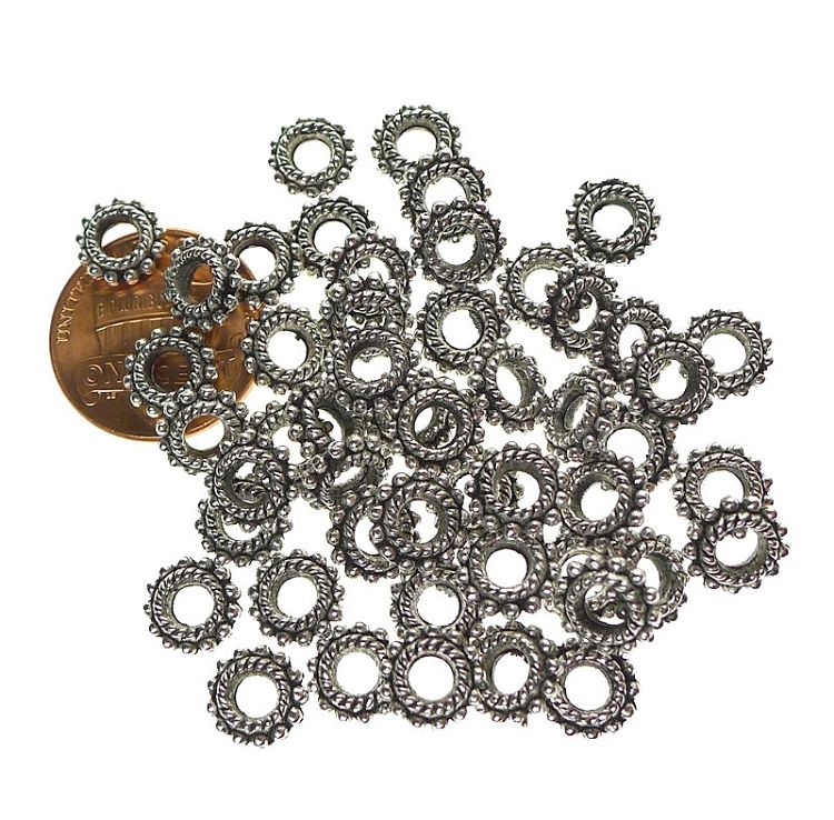50 x 12 mm Silver Plated Jewellery Spacer Beads Fancy Pattern