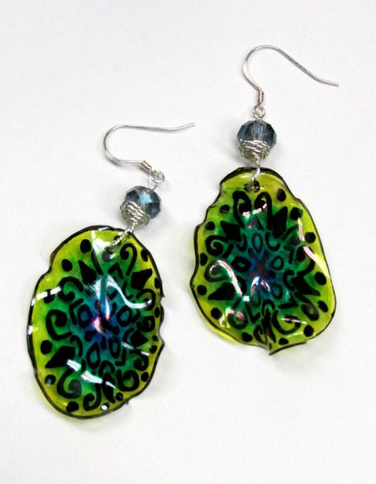 Recycled plastic bottle earrings instructions crafty for Jewelry made from plastic bottles