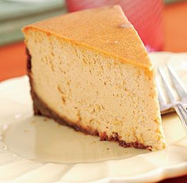 Spiced Pumpkin Cheesecake with a Gingersnap Crust - Recipe - FineCooking