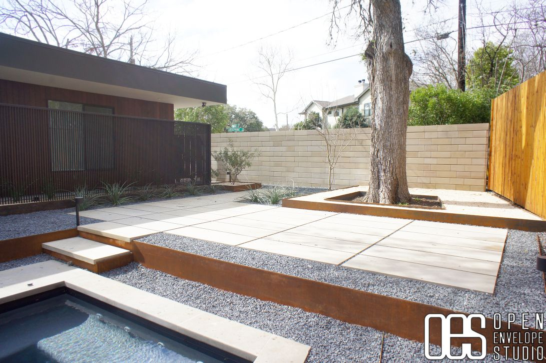 OES | Limestone Paver And Texas Basalt Patio With Steel Retaining Wall. Crushed  Limestone And