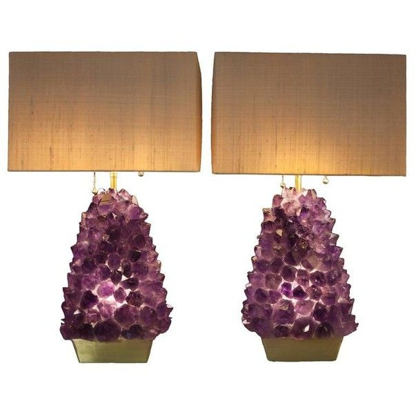 Pair Of Amethyst Lamps Demian Quincke 13 724 Liked On Polyvore Featuring Home Lighting Table Lamps Purple Amethys Lamp Table Lamp Crystal Table Lamps