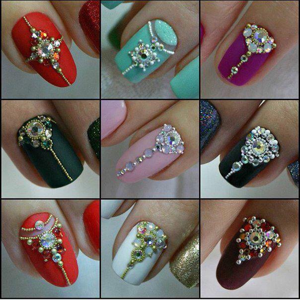 Jeweled bridal nail designs   Nails   Pinterest   Bridal nail design ...