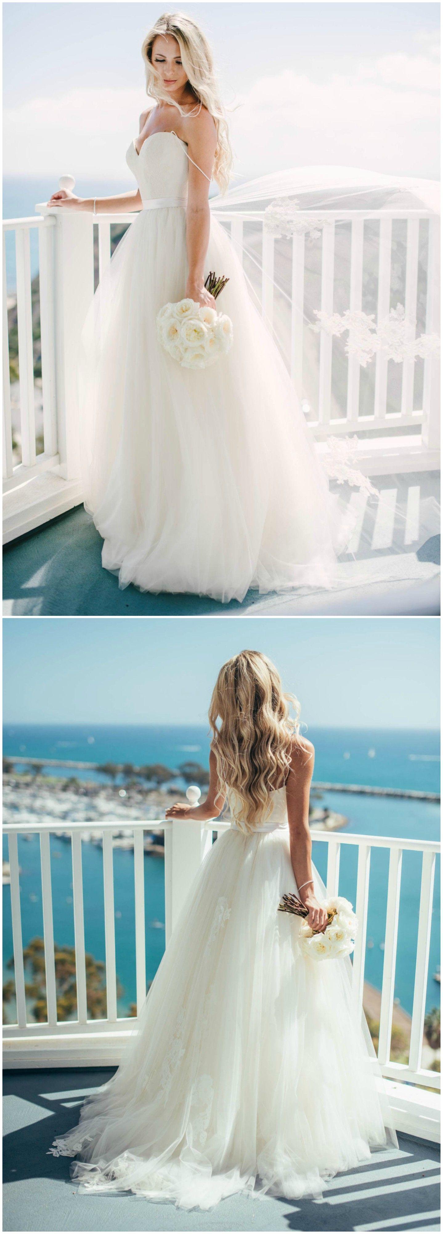 Strapless wedding dress, silk belt, tulle skirt, California bride ...