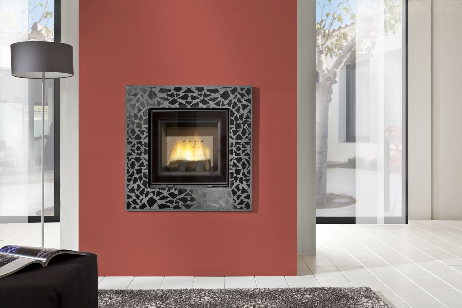 C800l Fireplace With Dual Opening Door System Cheminees Chazelles