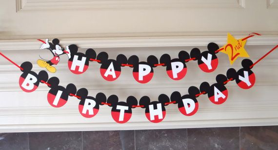 Diy mickey mouse birthday banner kit with optional custom name do it yourself and save with this diy mickey mouse ears happy birthday banner kit with a little glue and an few minutes you can say i made it myself solutioingenieria Choice Image