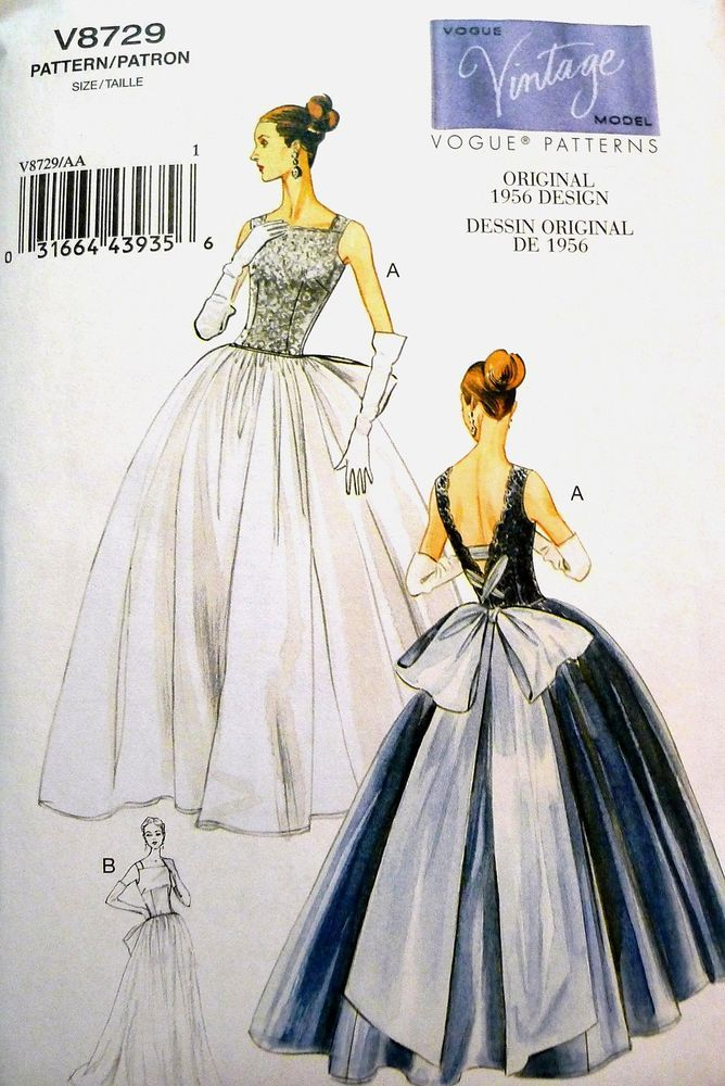 VOGUE V8729 Vintage 50\'s FULL BALL GOWN EVENING BRIDAL DRESS SEW ...