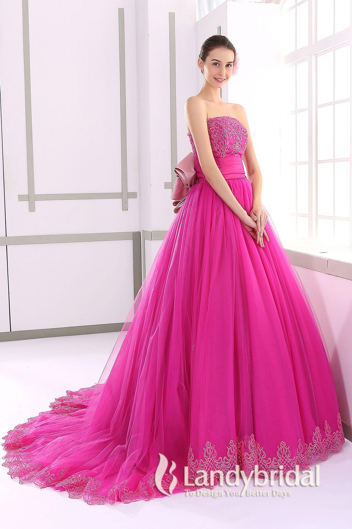 カラードレス プリンセス 取り外し式リボンとトレーン ビスチェ チェリーピンク JUL015003