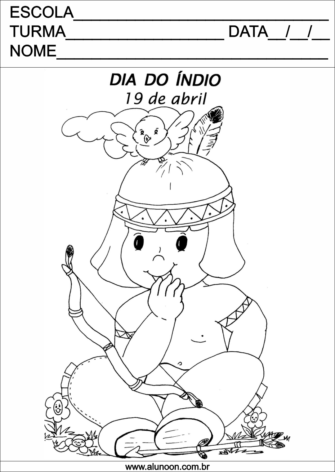Indio Para Colorir Dia Do Indio Educacao Infantil Aluno On