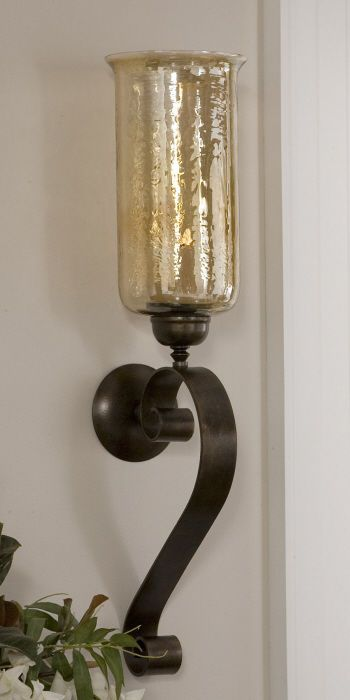 Tuscan Scroll Forged Metal Amber Glass Candle Wall Sconce Old
