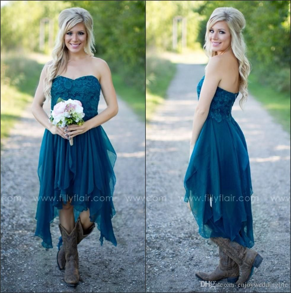 2019 Elegant Sweetheart Chiffon Ruffles Country Bridesmaid Dresses Lace Top High Low Maid Of Honor Gowns Party Short Prom Dresses Brides Maid Dress Bridesmaid D Country Bridesmaid Dresses Wedding Dresses High