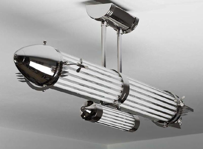 Art deco ceiling light glass incandescent zeppelin art b art