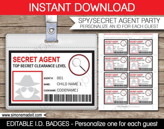 Spy Birthday Party Badge - Secret Agent Badge - Printable ...