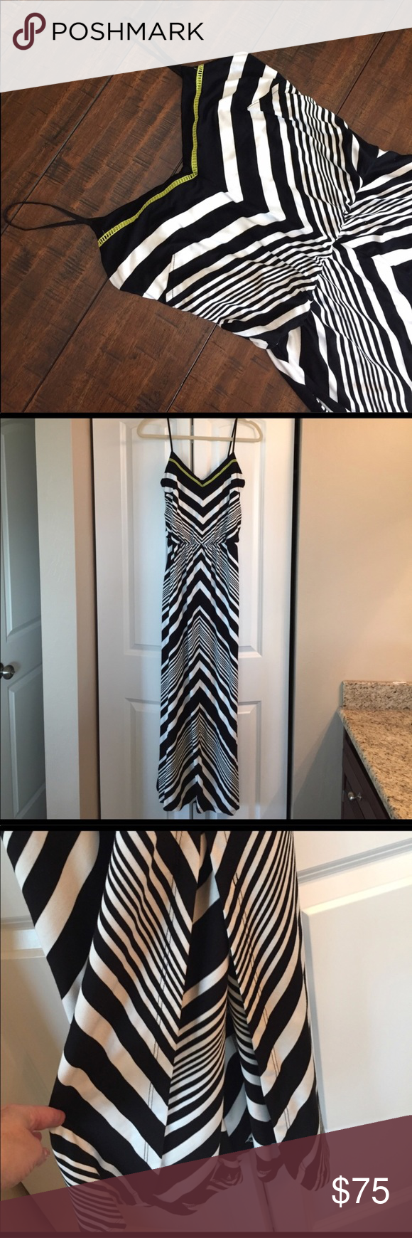 Nwt Vince Camuto Maxi Dress Beautifully Fun Black White Striped Maxi With A Pop Of Yellow Along The Necklin Clothes Design Fashion Design Black White Stripes [ 1740 x 580 Pixel ]