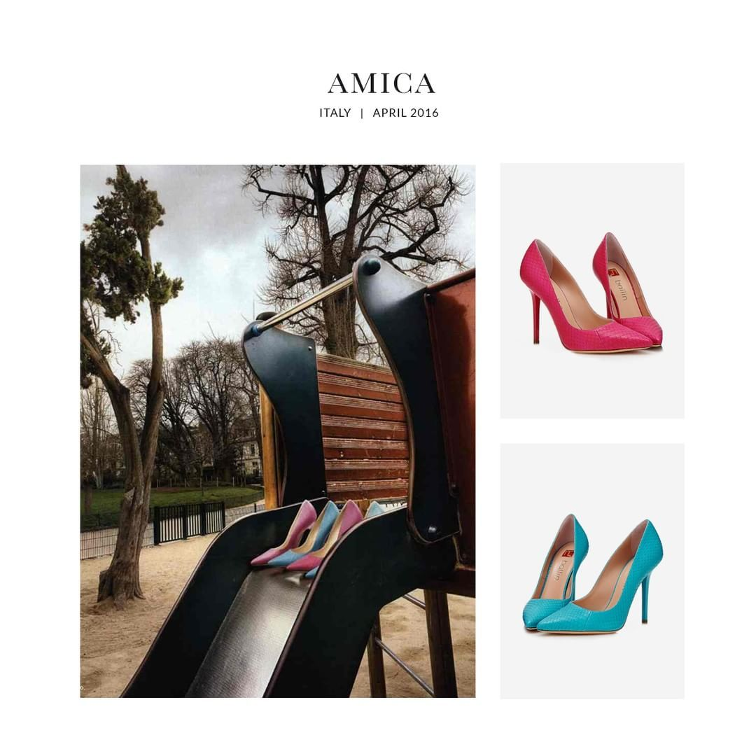The iconic, classic pumps design has been embellished with vibrant, glamorous colours. #Ballin was featured in @AmicaMagazine. More at ballin-shoes.com #BallinShoes #Shoes #Shoesoftheday #Fashion #SS16 #press