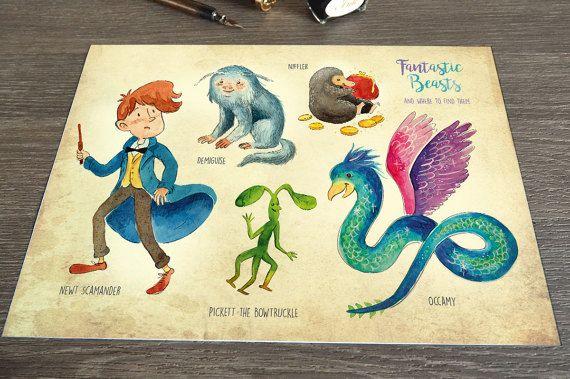 Print – Fantastic Beasts und wo man sie findet / Newt Scamander, Niffler, Occamy, Pickett, druckbare Kunst, Wandkunst, Illustration, Fanart