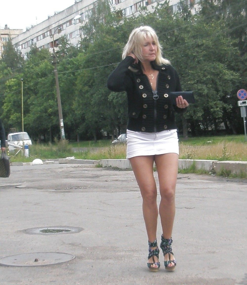 blonde milf in mini skirt. walk of shame? | m & m s | pinterest