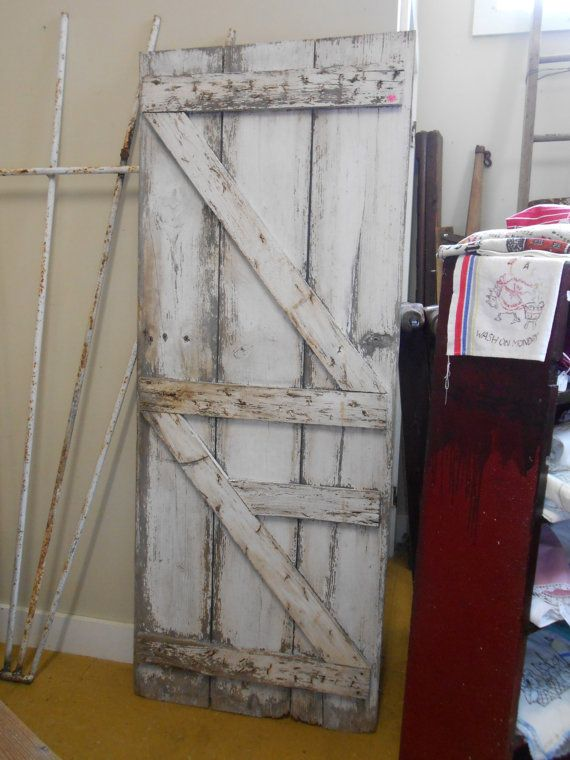 Antique White Barn Door Indiana Farm House Headboard Salvaged Reclaimed Wood - Antique White Barn Door Indiana Farm House Headboard Salvaged