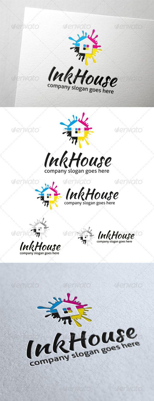 Ink House Logo Design Template Vector logotype Download