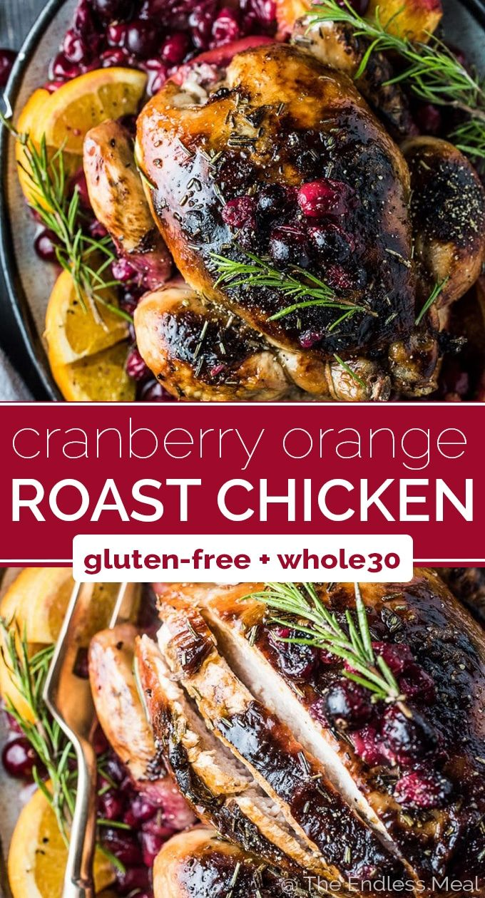 Orange Cranberry Roast Chicken with Rosemary Balsamic Butter SAVE FOR LATER! This crazy delicious Orange Cranberry Roast Chicken is covered with rosemary balsamic butter to keep it tender and juicy. It's a super easy to make and healthy recipe that is as perfect for a weekend dinner as it is for a special holiday meal.