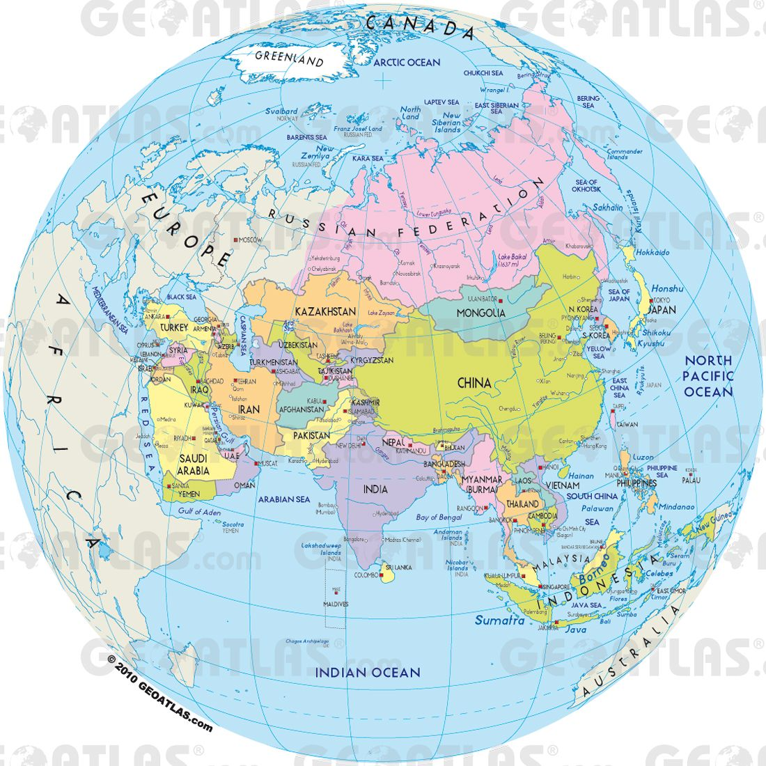 asiaglobepol1jpg 1100 1100 MAPS – Global Map of Asia