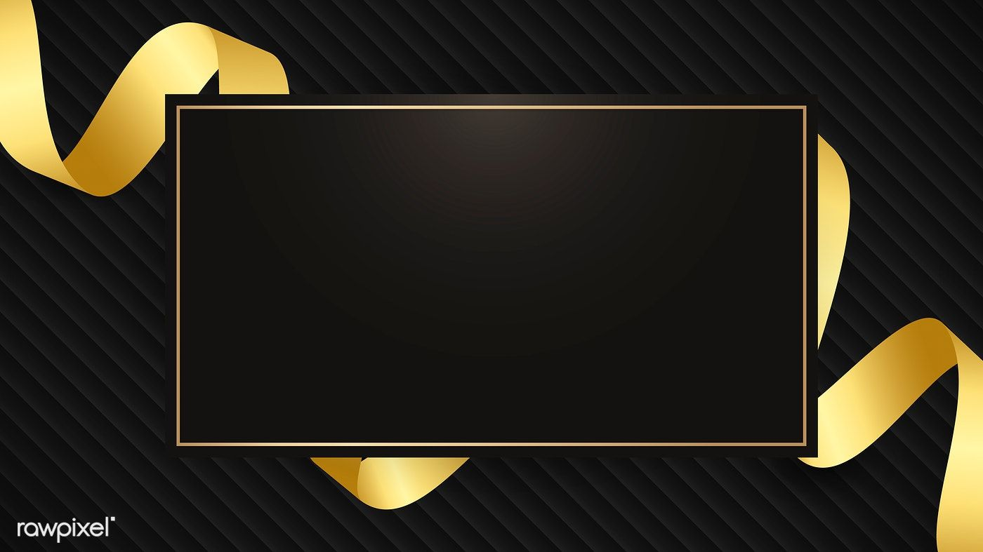 Download Premium Vector Of Rectangle Frame With Gold Ribbon Pattern On Gold Ribbons Background For Photography Frame