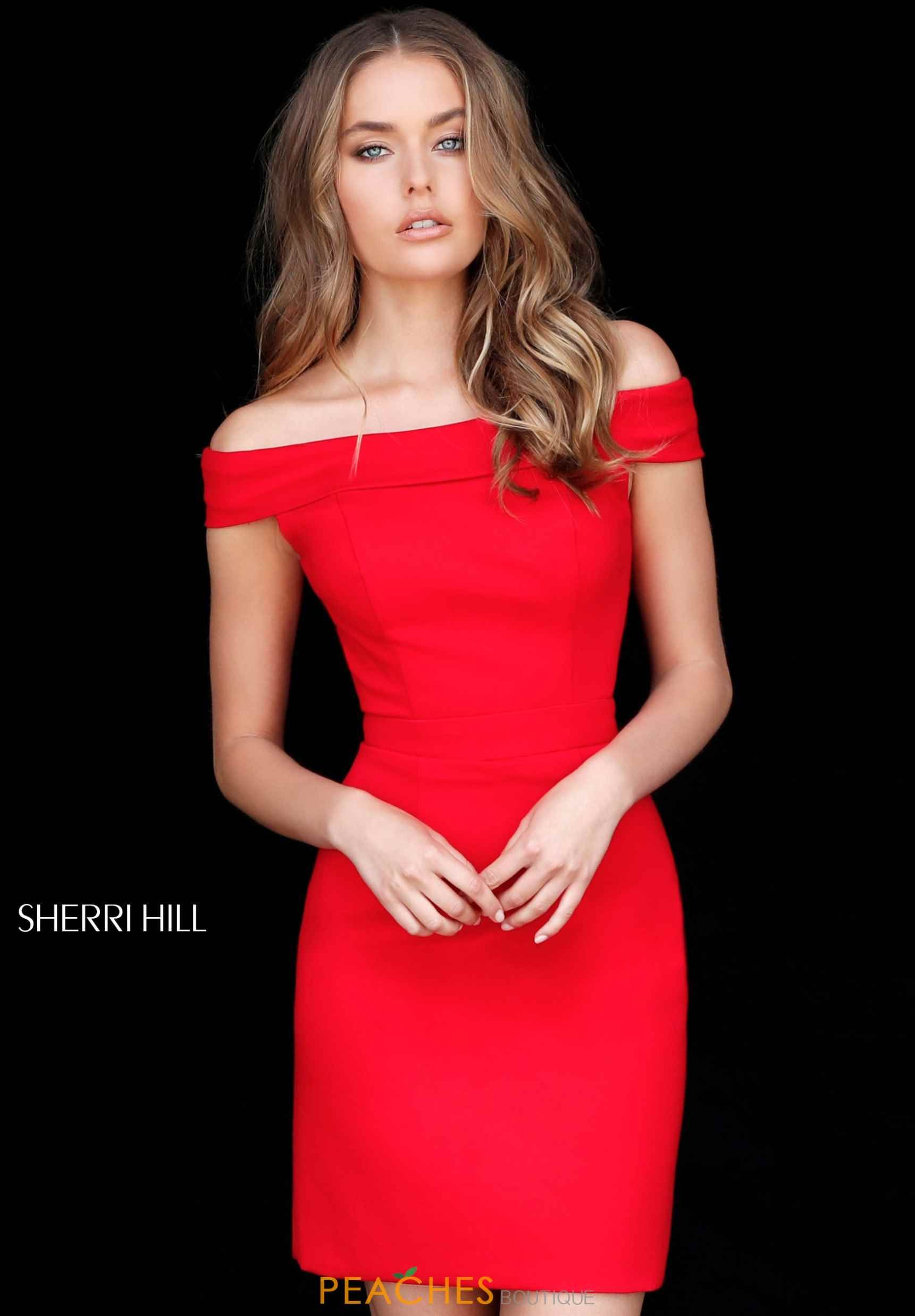 Cap Sleeve Fitted Sherri Hill Off the Shoulder Red Carpet Dress 51423