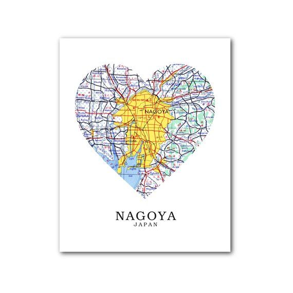 Nagoya Map Heart Print, Nagoya Map Art, Nagoya Japan Map, Heart Map ...