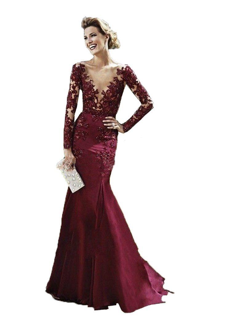 Enjoybuys sexy burgundy appliques satin mermaid evening prom dresses