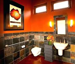 Grey Green And Burnt Orange Decor Google Search Orange Bathroom Decor Bathroom Wallpaper Contemporary Trendy Bathroom Tiles
