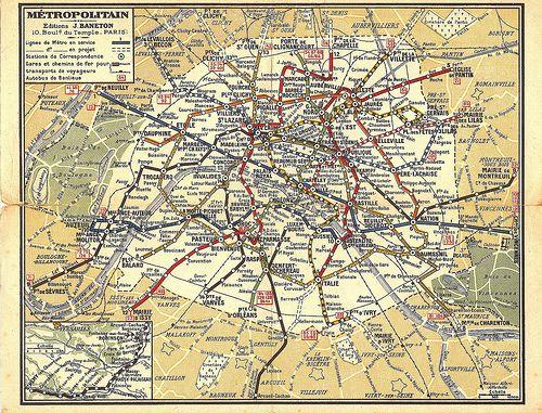 Paris Metro map or plan, by Editions Baneton, c1945? | Paris metro