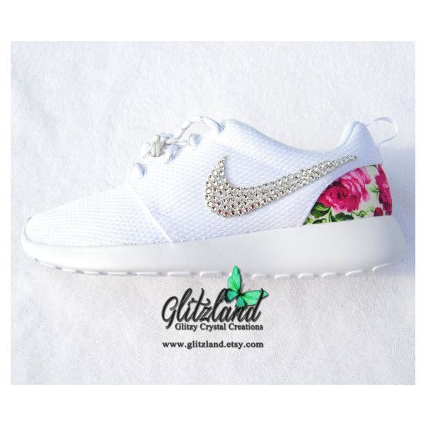 8ff2e72a2a23 Swarovski Nike Girl Woman White Nike Roshe Run w pink Floral Print...  ( 144) ❤ liked on Polyvore featuring shoes