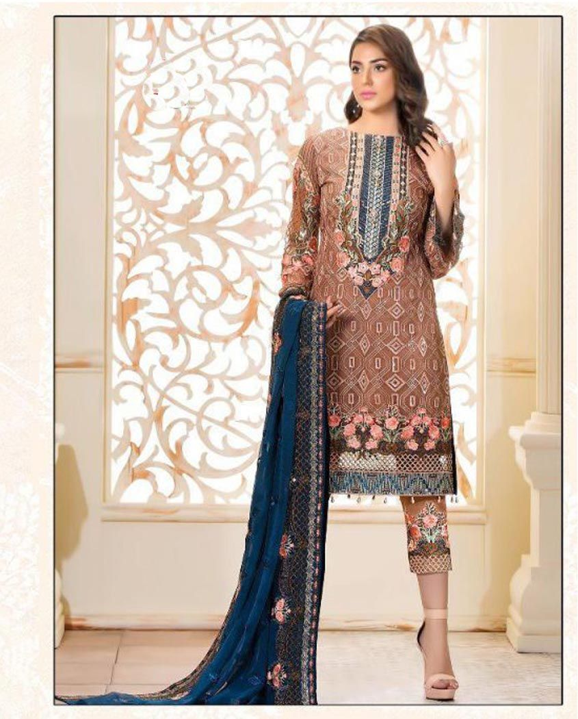 BROWN EMBROIDERED PAKISTANI SUIT